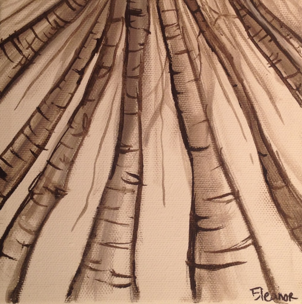 "Sepia Study of Birch Trees Acrylic on Canvas  6""x6"""